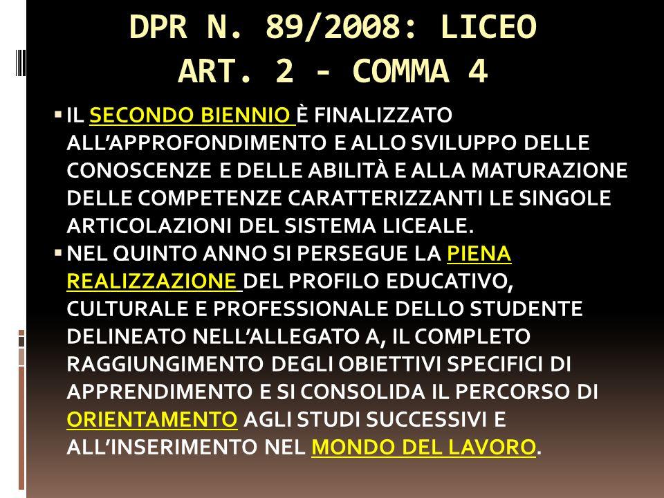DPR N. 89/2008: LICEO ART. 2 - COMMA 4 IL SECONDO BIENNIO È FINALIZZATO ALLAPPROFONDIMENTO E ALLO SVILUPPO DELLE CONOSCENZE E DELLE ABILITÀ E ALLA MAT