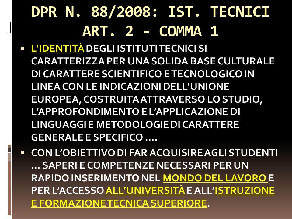DPR N. 88/2008: IST. TECNICI ART. 2 - COMMA 1 LIDENTITÀ DEGLI ISTITUTI TECNICI SI CARATTERIZZA PER UNA SOLIDA BASE CULTURALE DI CARATTERE SCIENTIFICO