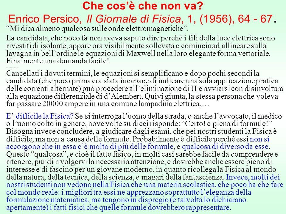 Che cosè che non va.Enrico Persico, Il Giornale di Fisica, 1, (1956), 64 - 67.