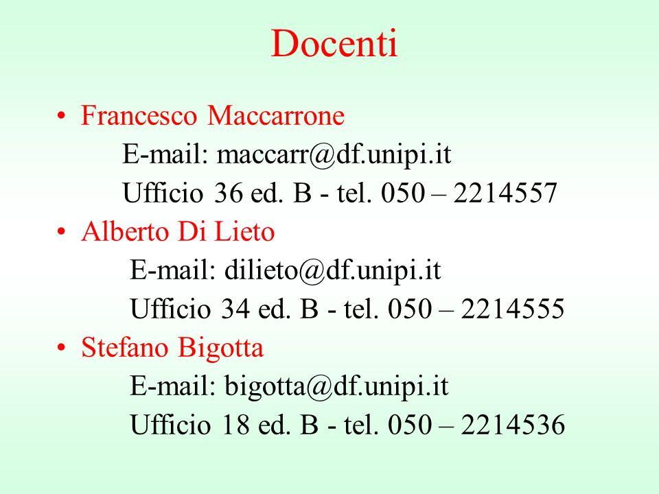 Docenti Francesco Maccarrone E-mail: maccarr@df.unipi.it Ufficio 36 ed.