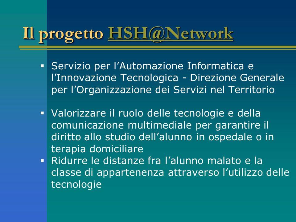 Il progetto HSH@Network HSH@Network Il progetto HSH@Network HSH@Network Servizio per lAutomazione Informatica e lInnovazione Tecnologica - Direzione G