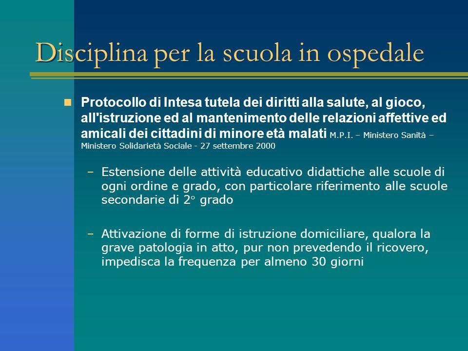 Disciplina per la scuola in ospedale Protocollo di Intesa tutela dei diritti alla salute, al gioco, all'istruzione ed al mantenimento delle relazioni