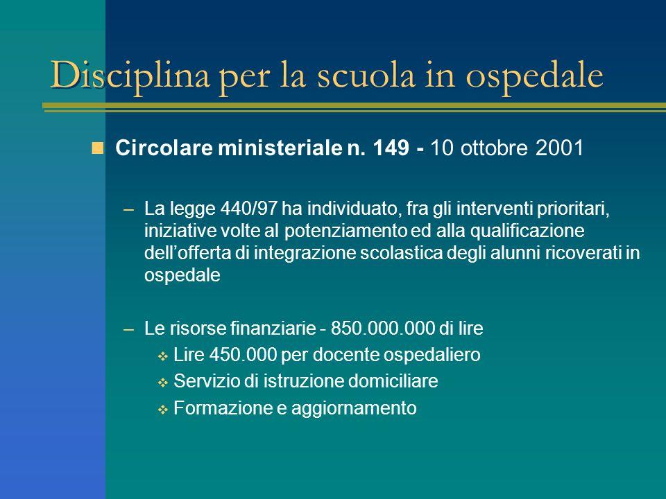 Disciplina per la scuola in ospedale Circolare ministeriale n. 149 - 10 ottobre 2001 –La legge 440/97 ha individuato, fra gli interventi prioritari, i