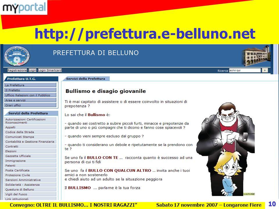 Convegno: OLTRE IL BULLISMO… I NOSTRI RAGAZZISabato 17 novembre 2007 – Longarone Fiere http://prefettura.e-belluno.net 10