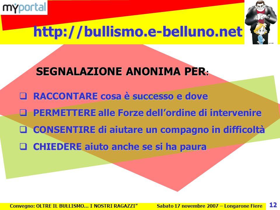 http://bullismo.e-belluno.net Convegno: OLTRE IL BULLISMO… I NOSTRI RAGAZZISabato 17 novembre 2007 – Longarone Fiere RACCONTARE cosa è successo e dove