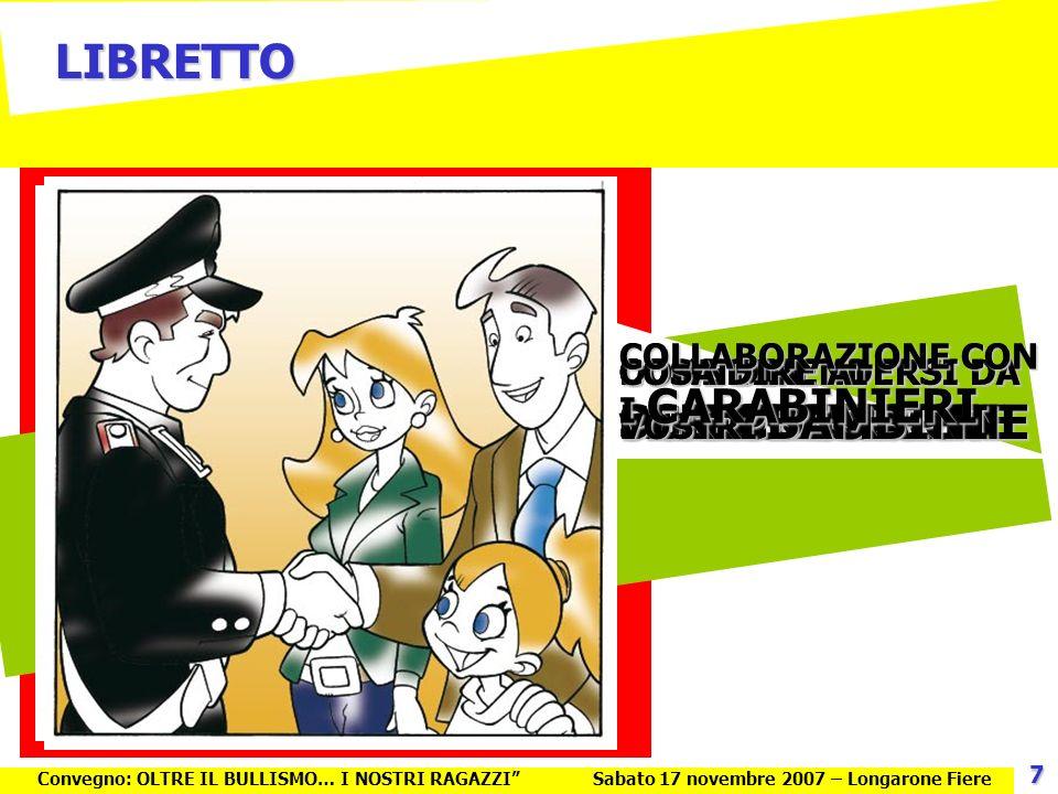 Contro il BULLISMO uniamo le forze Il Bullismo: parlarne è la tua forza CARTOLINA http://bullismo.e-belluno.net Possiamo aiutarti… Convegno: OLTRE IL BULLISMO… I NOSTRI RAGAZZISabato 17 novembre 2007 – Longarone Fiere 8