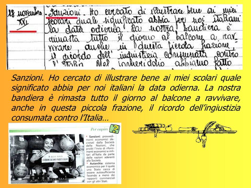 Sanzioni. Ho cercato di illustrare bene ai miei scolari quale significato abbia per noi italiani la data odierna. La nostra bandiera è rimasta tutto i