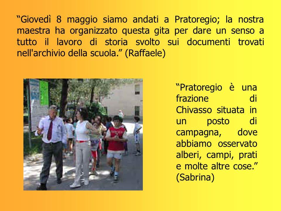 Giovedì 8 maggio siamo andati a Pratoregio; la nostra maestra ha organizzato questa gita per dare un senso a tutto il lavoro di storia svolto sui docu