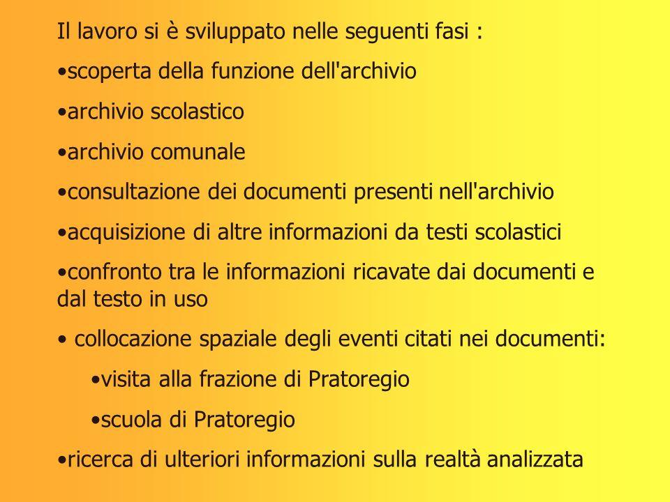 Il lavoro si è sviluppato nelle seguenti fasi : scoperta della funzione dell'archivio archivio scolastico archivio comunale consultazione dei document