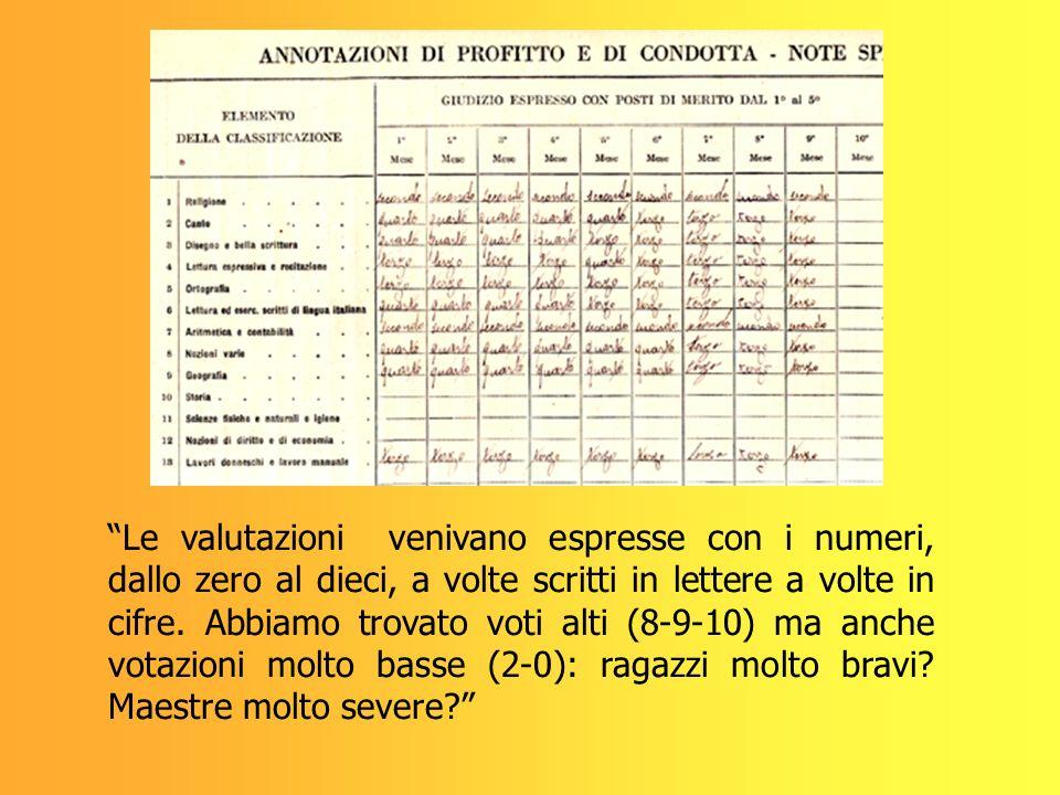 Le valutazioni venivano espresse con i numeri, dallo zero al dieci, a volte scritti in lettere a volte in cifre. Abbiamo trovato voti alti (8-9-10) ma