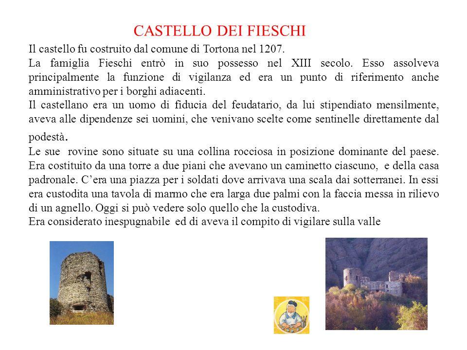 CASTELLO DEI FIESCHI Il castello fu costruito dal comune di Tortona nel 1207.
