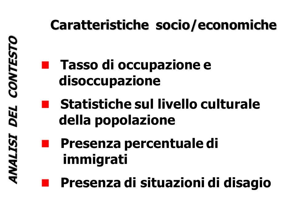 ANALISI DEL CONTESTO Caratteristiche socio/economiche Tasso di occupazione e disoccupazione Statistiche sul livello culturale della popolazione Presenza percentuale di immigrati Presenza di situazioni di disagio