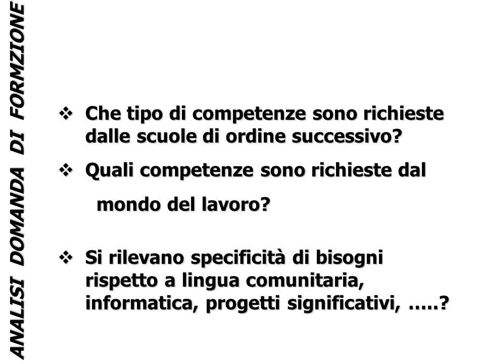 ANALISI DOMANDA DI FORMZIONE Che tipo di competenze sono richieste dalle scuole di ordine successivo.