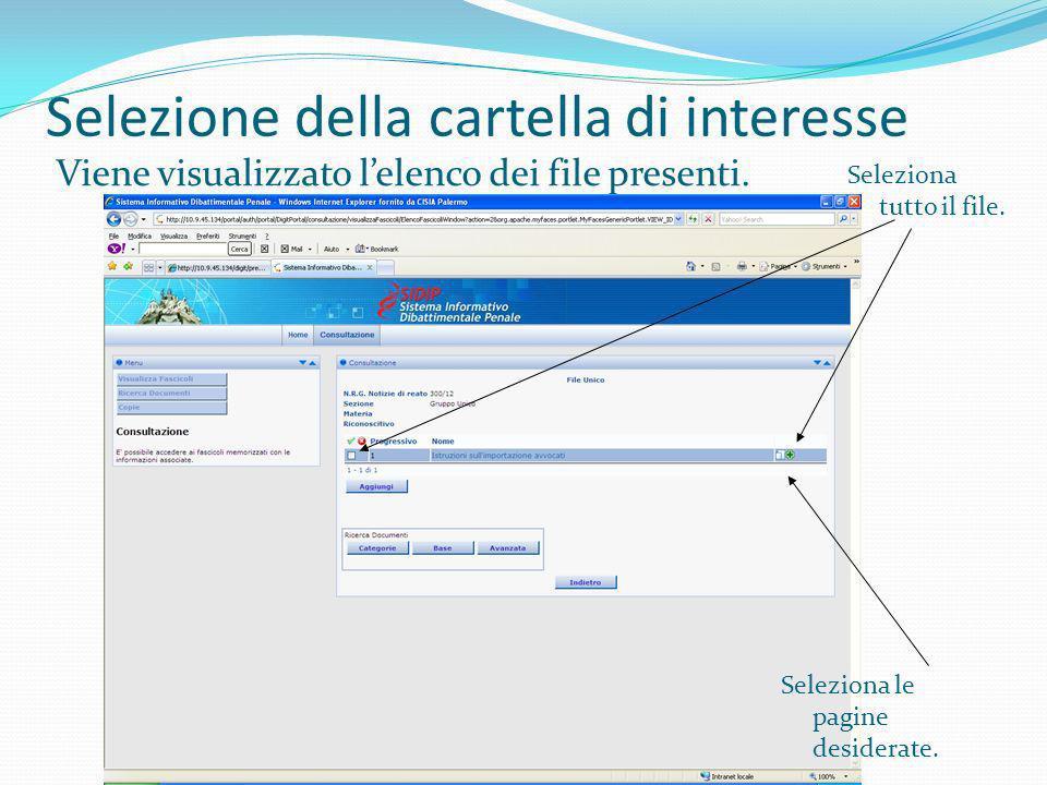 Selezione della cartella di interesse Viene visualizzato lelenco dei file presenti. Seleziona tutto il file. Seleziona le pagine desiderate.