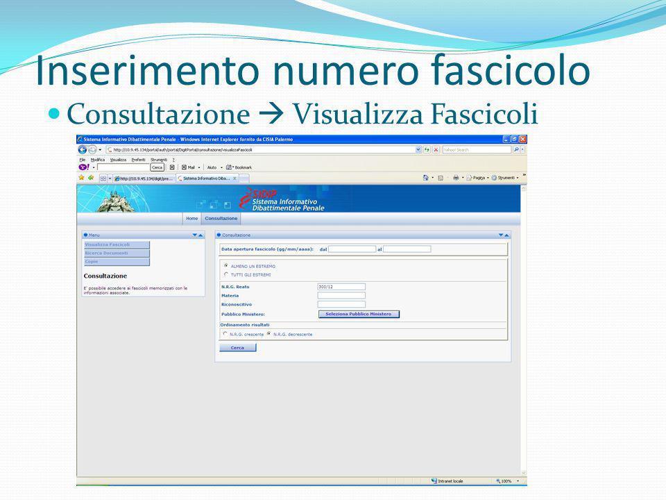 Inserimento numero fascicolo Consultazione Visualizza Fascicoli