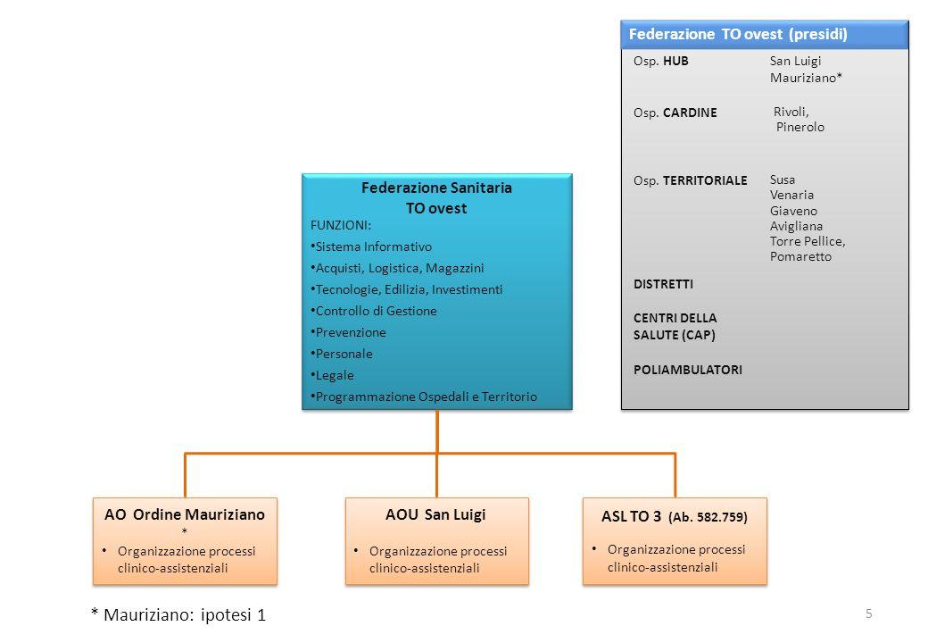 ASL TO 2 (Ab 419.874) Organizzazione processi clinico-assistenziali ASL TO 2 (Ab 419.874) Organizzazione processi clinico-assistenziali ASL TO 4 (Ab 515.997) Organizzazione processi clinico-assistenziali ASL TO 4 (Ab 515.997) Organizzazione processi clinico-assistenziali Federazione Sanitaria TO NordESt FUNZIONI: Sistema Informativo Acquisti, Logistica, Magazzini Tecnologie, Edilizia, Investimenti Controllo di Gestione Prevenzione Personale Legale Programmazione Ospedali e Territorio Federazione Sanitaria TO NordESt FUNZIONI: Sistema Informativo Acquisti, Logistica, Magazzini Tecnologie, Edilizia, Investimenti Controllo di Gestione Prevenzione Personale Legale Programmazione Ospedali e Territorio Federazione TO NordEst (presidi) * Mauriziano: ipotesi 2 AO Ordine Mauriziano * Organizzazione processi clinico-assistenziali AO Ordine Mauriziano * Organizzazione processi clinico-assistenziali 6 S.G.