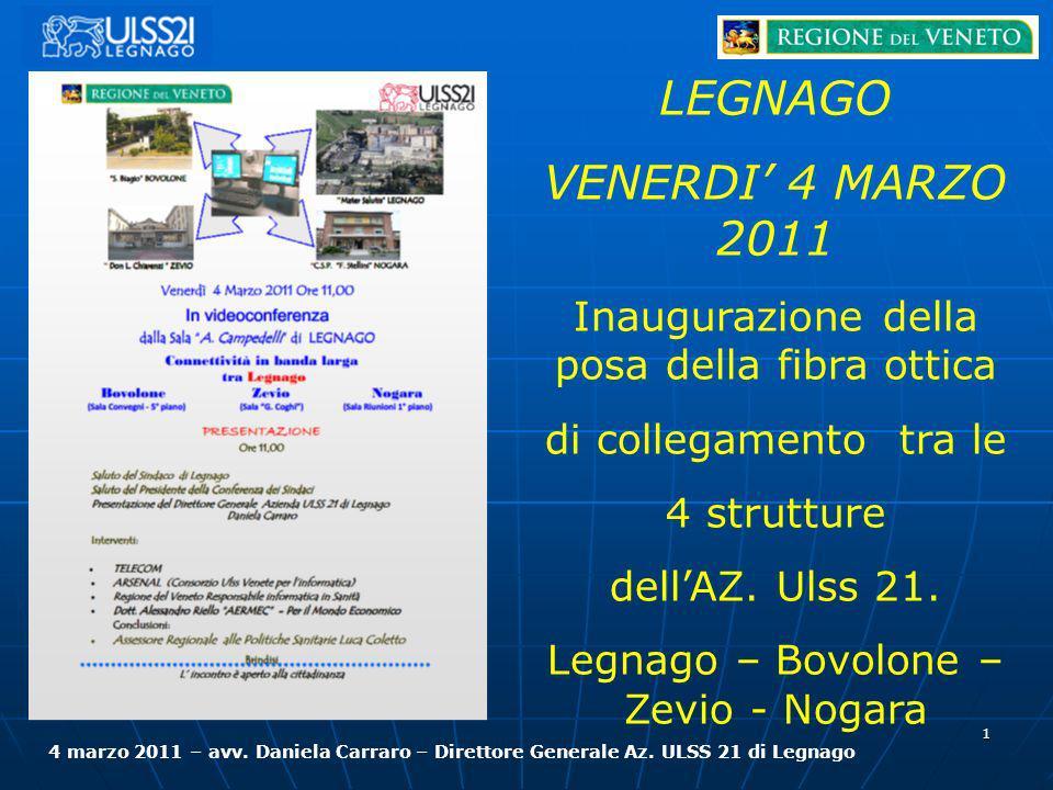 1 LEGNAGO VENERDI 4 MARZO 2011 Inaugurazione della posa della fibra ottica di collegamento tra le 4 strutture dellAZ. Ulss 21. Legnago – Bovolone – Ze