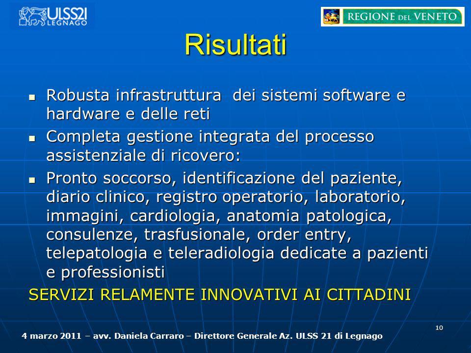 Risultati Robusta infrastruttura dei sistemi software e hardware e delle reti Robusta infrastruttura dei sistemi software e hardware e delle reti Comp