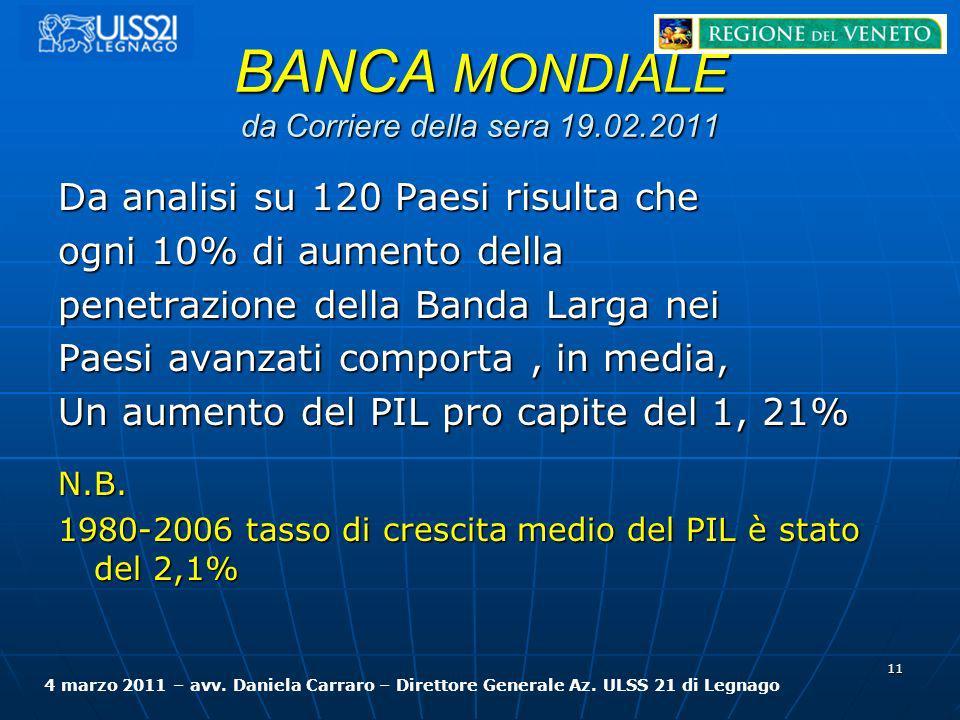 BANCA MONDIALE da Corriere della sera 19.02.2011 Da analisi su 120 Paesi risulta che ogni 10% di aumento della penetrazione della Banda Larga nei Paes