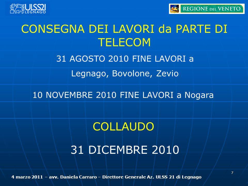 7 CONSEGNA DEI LAVORI da PARTE DI TELECOM 31 AGOSTO 2010 FINE LAVORI a Legnago, Bovolone, Zevio 10 NOVEMBRE 2010 FINE LAVORI a Nogara COLLAUDO 31 DICE