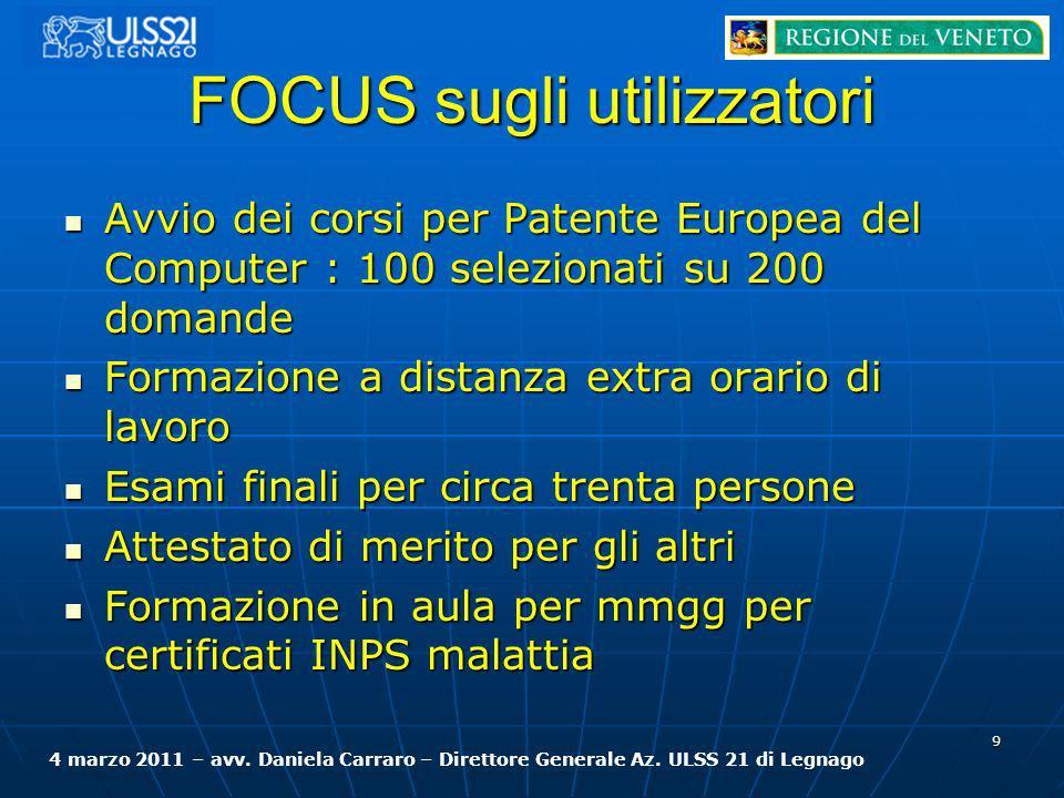 FOCUS sugli utilizzatori Avvio dei corsi per Patente Europea del Computer : 100 selezionati su 200 domande Avvio dei corsi per Patente Europea del Com