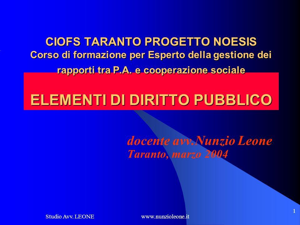 Studio Avv. LEONE www.nunzioleone.it 1 CIOFS TARANTO PROGETTO NOESIS Corso di formazione per Esperto della gestione dei rapporti tra P.A. e cooperazio