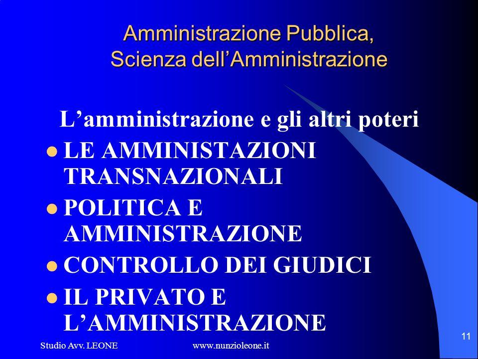 Studio Avv. LEONE www.nunzioleone.it 11 Amministrazione Pubblica, Scienza dellAmministrazione Lamministrazione e gli altri poteri LE AMMINISTAZIONI TR