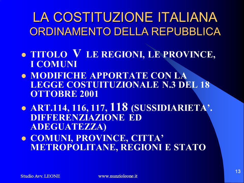 Studio Avv. LEONE www.nunzioleone.it 13 LA COSTITUZIONE ITALIANA ORDINAMENTO DELLA REPUBBLICA TITOLO V LE REGIONI, LE PROVINCE, I COMUNI MODIFICHE APP