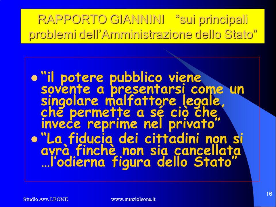 Studio Avv. LEONE www.nunzioleone.it 16 RAPPORTO GIANNINI sui principali problemi dellAmministrazione dello Stato il potere pubblico viene sovente a p