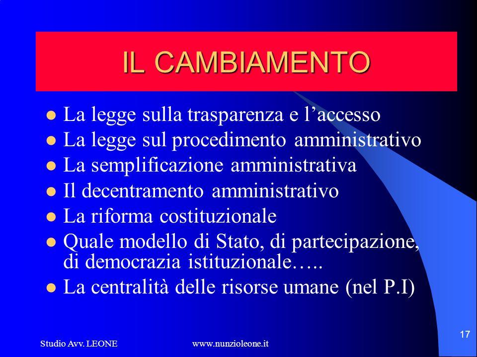 Studio Avv. LEONE www.nunzioleone.it 17 IL CAMBIAMENTO La legge sulla trasparenza e laccesso La legge sul procedimento amministrativo La semplificazio