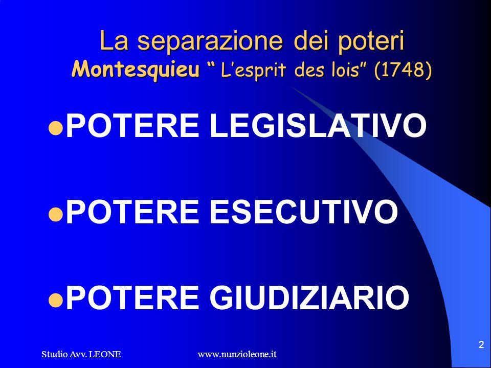 Studio Avv. LEONE www.nunzioleone.it 2 La separazione dei poteri Montesquieu Lesprit des lois (1748) POTERE LEGISLATIVO POTERE ESECUTIVO POTERE GIUDIZ