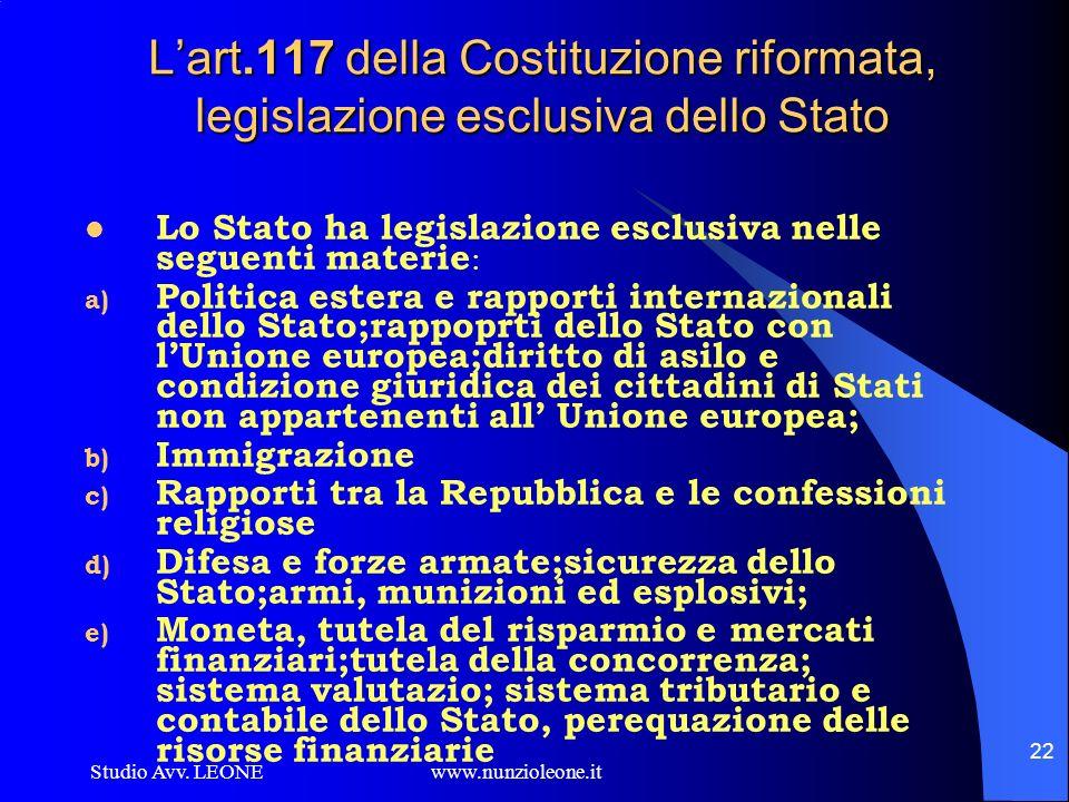 Studio Avv. LEONE www.nunzioleone.it 22 Lart.117 della Costituzione riformata, legislazione esclusiva dello Stato Lo Stato ha legislazione esclusiva n
