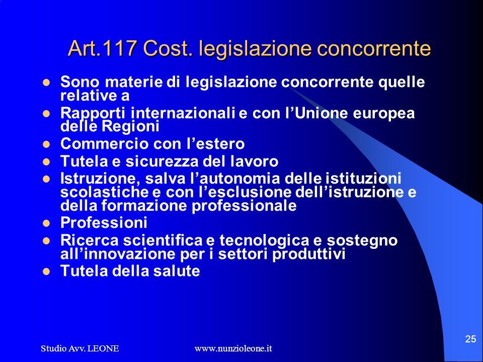 Studio Avv. LEONE www.nunzioleone.it 25 Art.117 Cost. legislazione concorrente Sono materie di legislazione concorrente quelle relative a Rapporti int