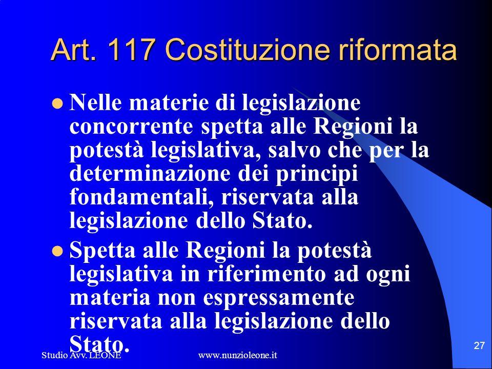 Studio Avv. LEONE www.nunzioleone.it 27 Art. 117 Costituzione riformata Nelle materie di legislazione concorrente spetta alle Regioni la potestà legis