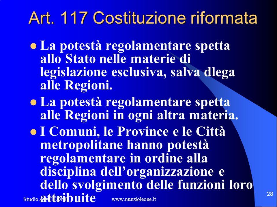Studio Avv. LEONE www.nunzioleone.it 28 Art. 117 Costituzione riformata La potestà regolamentare spetta allo Stato nelle materie di legislazione esclu