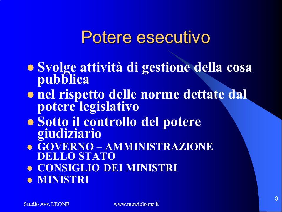 Studio Avv. LEONE www.nunzioleone.it 3 Potere esecutivo Svolge attività di gestione della cosa pubblica nel rispetto delle norme dettate dal potere le