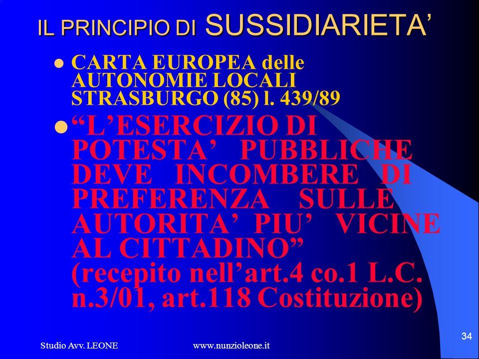 Studio Avv. LEONE www.nunzioleone.it 34 IL PRINCIPIO DI SUSSIDIARIETA CARTA EUROPEA delle AUTONOMIE LOCALI STRASBURGO (85) l. 439/89 LESERCIZIO DI POT