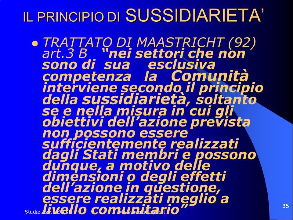 Studio Avv. LEONE www.nunzioleone.it 35 IL PRINCIPIO DI SUSSIDIARIETA TRATTATO DI MAASTRICHT (92) art.3 B nei settori che non sono di sua esclusiva co