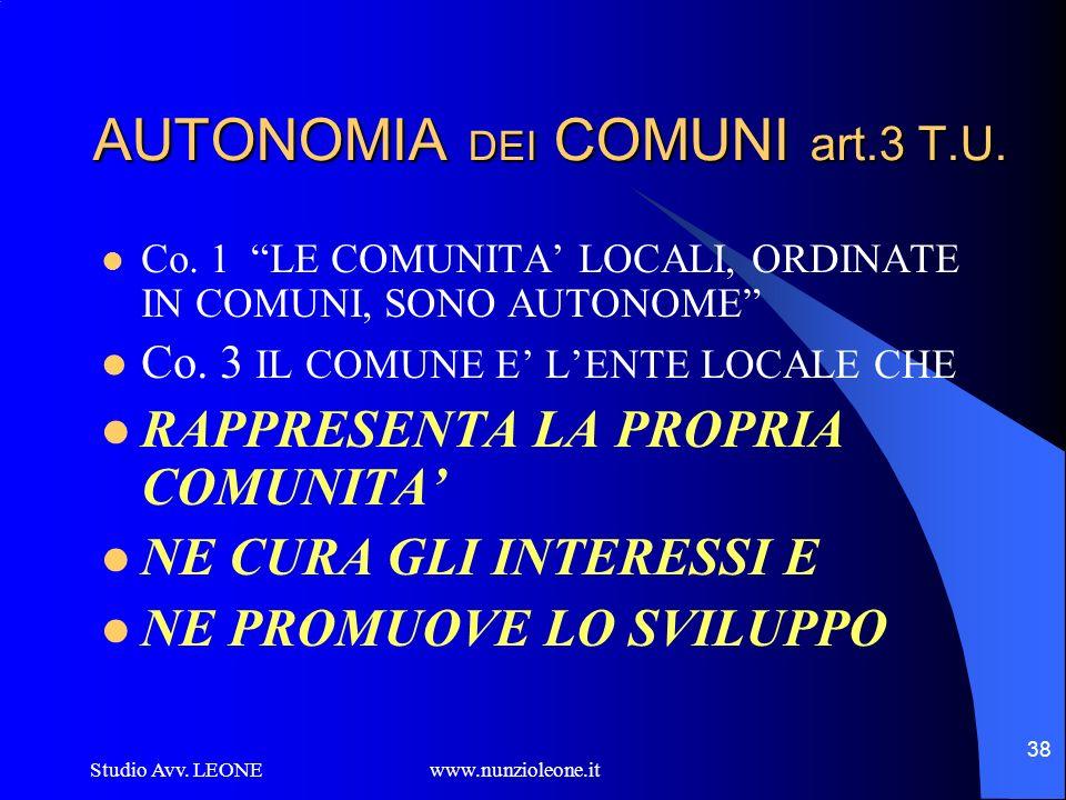 Studio Avv. LEONE www.nunzioleone.it 38 AUTONOMIA DEI COMUNI art.3 T.U. Co. 1 LE COMUNITA LOCALI, ORDINATE IN COMUNI, SONO AUTONOME Co. 3 IL COMUNE E