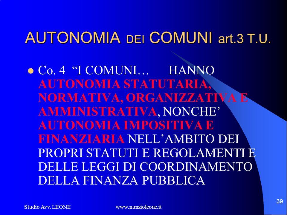 Studio Avv. LEONE www.nunzioleone.it 39 AUTONOMIA DEI COMUNI art.3 T.U. Co. 4 I COMUNI… HANNO AUTONOMIA STATUTARIA, NORMATIVA, ORGANIZZATIVA E AMMINIS