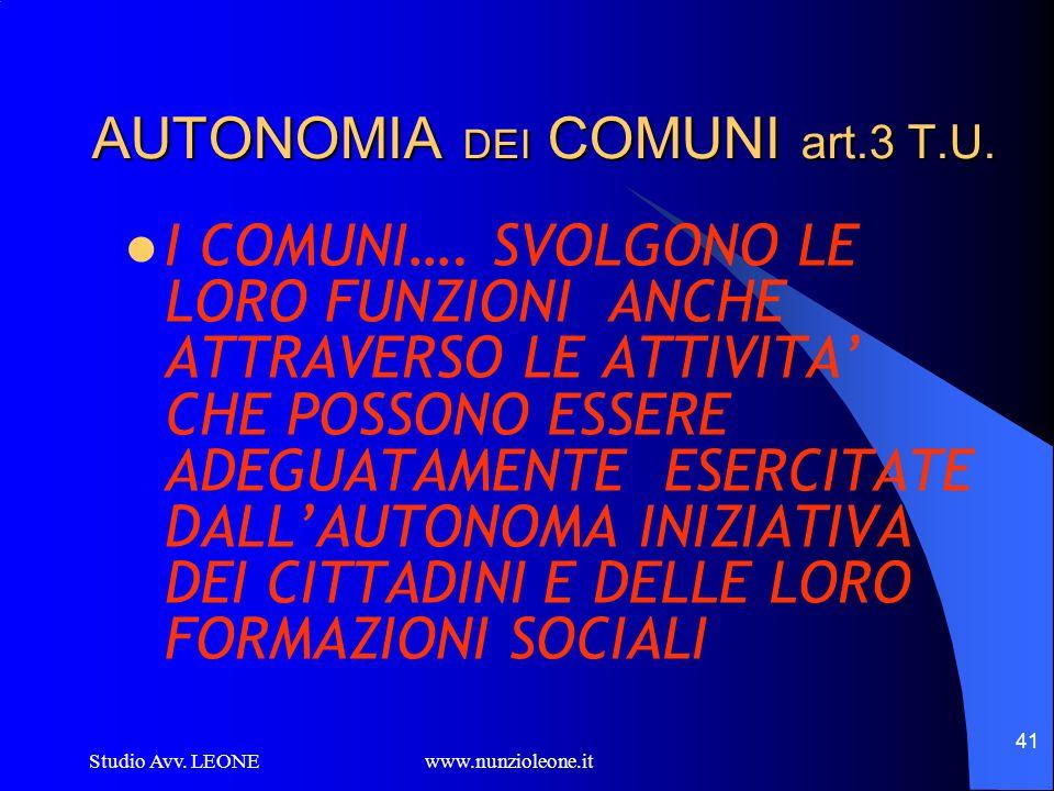 Studio Avv. LEONE www.nunzioleone.it 41 AUTONOMIA DEI COMUNI art.3 T.U. I COMUNI…. SVOLGONO LE LORO FUNZIONI ANCHE ATTRAVERSO LE ATTIVITA CHE POSSONO