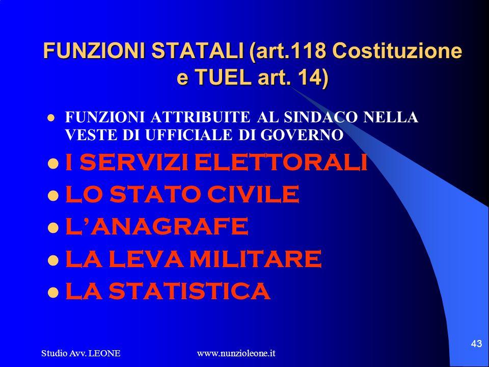 Studio Avv. LEONE www.nunzioleone.it 43 FUNZIONI STATALI (art.118 Costituzione e TUEL art. 14) FUNZIONI ATTRIBUITE AL SINDACO NELLA VESTE DI UFFICIALE