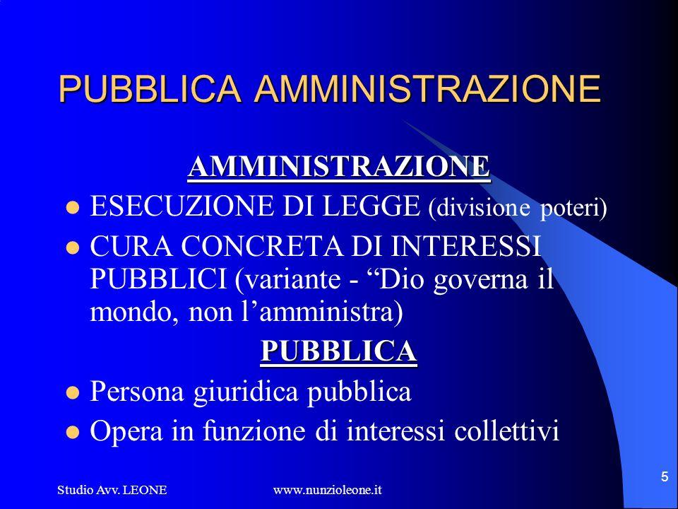 Studio Avv. LEONE www.nunzioleone.it 5 PUBBLICA AMMINISTRAZIONE AMMINISTRAZIONE ESECUZIONE DI LEGGE (divisione poteri) CURA CONCRETA DI INTERESSI PUBB