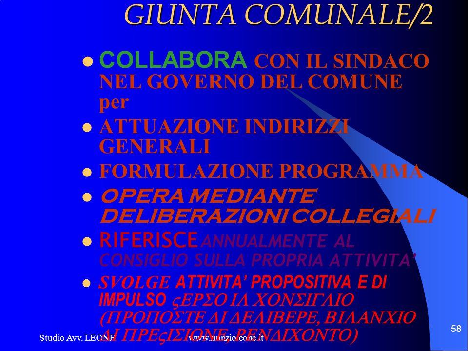 Studio Avv. LEONE www.nunzioleone.it 58 GIUNTA COMUNALE/2 COLLABORA CON IL SINDACO NEL GOVERNO DEL COMUNE per ATTUAZIONE INDIRIZZI GENERALI FORMULAZIO
