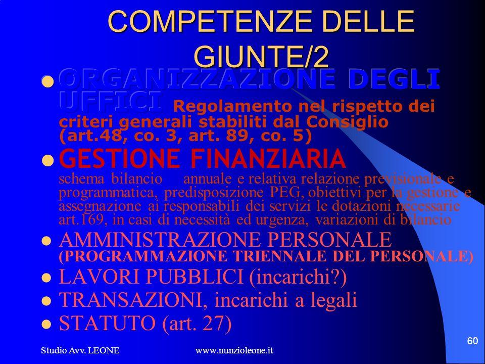 Studio Avv. LEONE www.nunzioleone.it 60 COMPETENZE DELLE GIUNTE/2