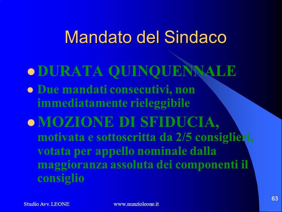 Studio Avv. LEONE www.nunzioleone.it 63 Mandato del Sindaco DURATA QUINQUENNALE Due mandati consecutivi, non immediatamente rieleggibile MOZIONE DI SF