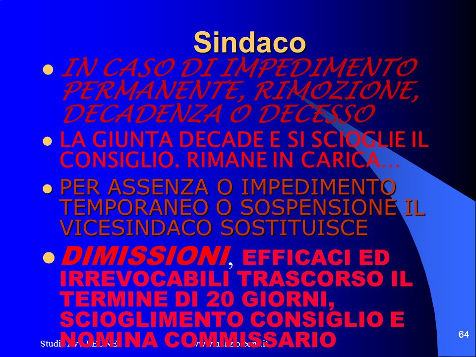 Studio Avv. LEONE www.nunzioleone.it 64 Sindaco IN CASO DI IMPEDIMENTO PERMANENTE, RIMOZIONE, DECADENZA O DECESSO LA GIUNTA DECADE E SI SCIOGLIE IL CO