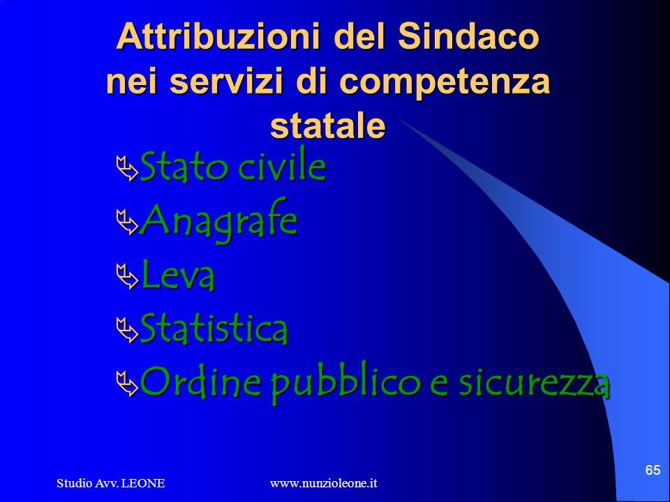 Studio Avv. LEONE www.nunzioleone.it 65 Attribuzioni del Sindaco nei servizi di competenza statale Stato civile Stato civile Anagrafe Anagrafe Leva Le