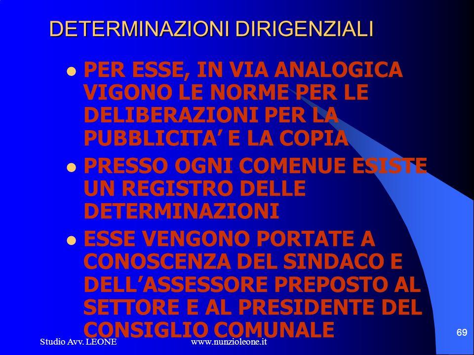 Studio Avv. LEONE www.nunzioleone.it 69 DETERMINAZIONI DIRIGENZIALI PER ESSE, IN VIA ANALOGICA VIGONO LE NORME PER LE DELIBERAZIONI PER LA PUBBLICITA