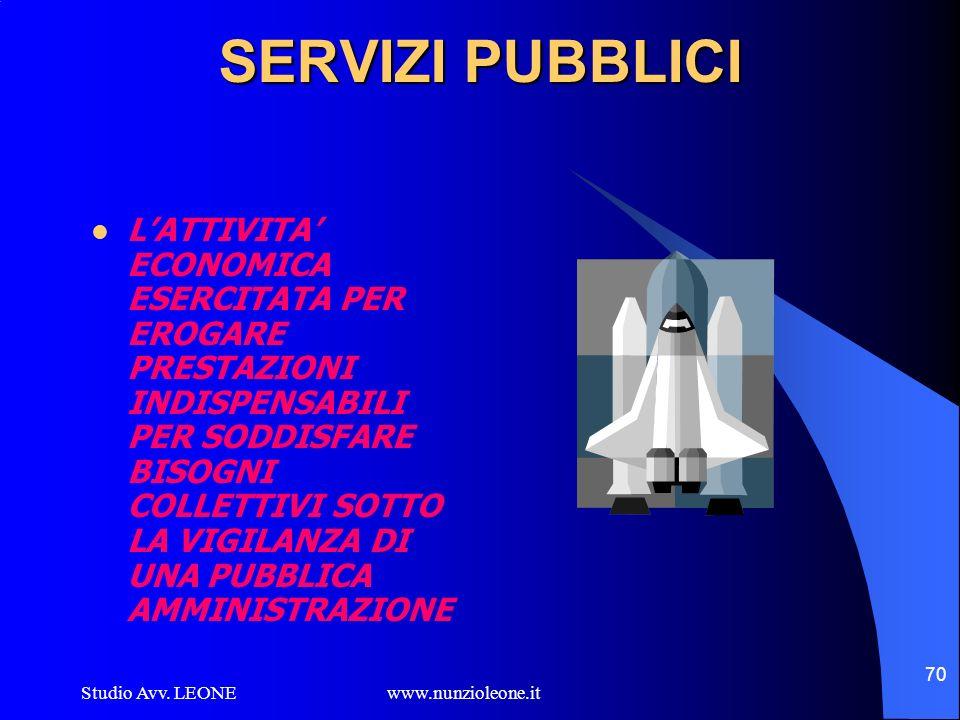 Studio Avv. LEONE www.nunzioleone.it 70 SERVIZI PUBBLICI LATTIVITA ECONOMICA ESERCITATA PER EROGARE PRESTAZIONI INDISPENSABILI PER SODDISFARE BISOGNI